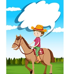Man riding horse in the field vector image vector image