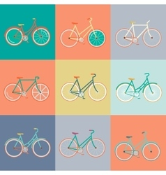 Modern flat of retro bicycle vector