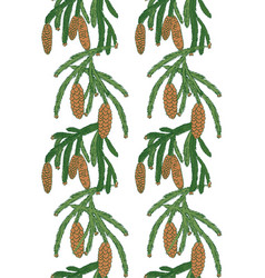 pattern white pine tree with pine cones vector image vector image