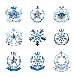 Pentagonal stars emblems set heraldic coat of vector