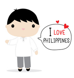 Philippines men national dress cartoon vector