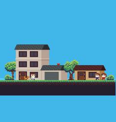 Pixel art neighborhood vector