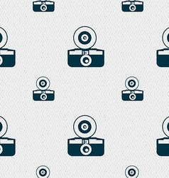 Retro photo camera icon sign seamless pattern with vector