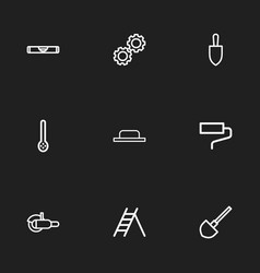Set of 9 editable tools outline icons includes vector