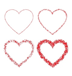 Set of Red Hand Drawn Linear Grunge Hearts vector image