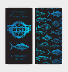 Sketch - logo seafood vector
