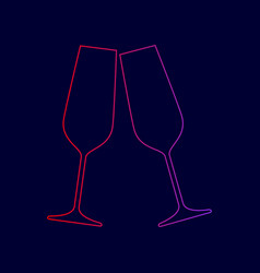 Sparkling champagne glasses line icon vector