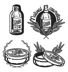 vintage natural cosmetics emblems vector image vector image