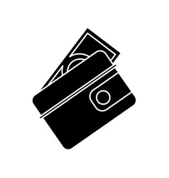 Wallet dollar money cash pictogram vector
