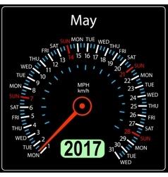 Year 2017 calendar speedometer car in  may vector