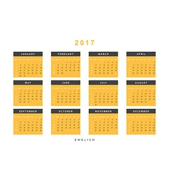 Calendar 2017 year simple style vector