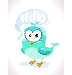 Little cute cartoon blue bird character vector image