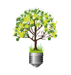 Colorful silhouette of light bulb base with leafy vector