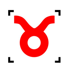 Taurus sign   red icon inside vector