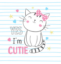 Cute kitty graphic for kids clothing vector