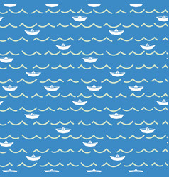 Paper boats and sea waves seamless pattern vector