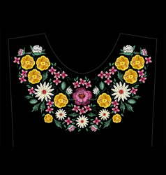 Bright satin stitch embroidery design with flowers vector
