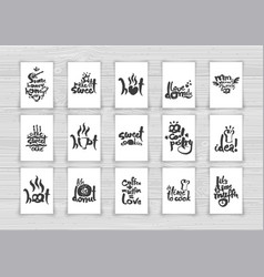 Sweet pastry letterings on papers set two vector