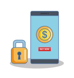Secure shopping cellphone money banking internet vector