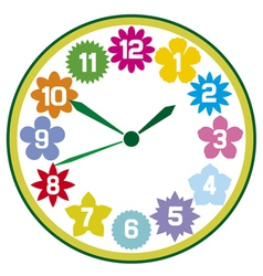 Clock with flowers vector