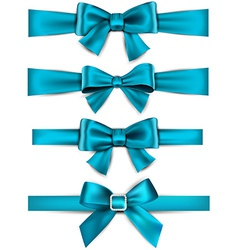Satin blue ribbons gift bows vector