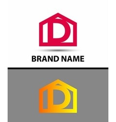 Letter d logo with home icon vector