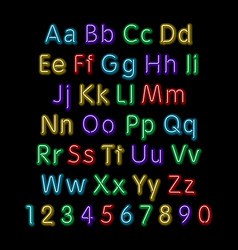 Neon glow alphabet design party retro 3d art font vector