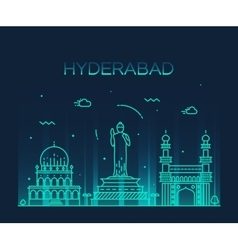 Hyderabad skyline linear vector