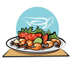 Fried shrimps and vegetables vector