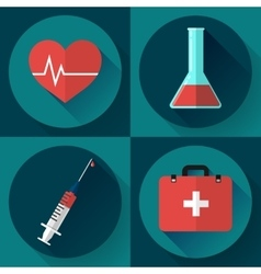 Trendy medical icons with shadow flat design vector
