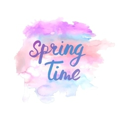 Spring time lettering phrase abstract hand vector