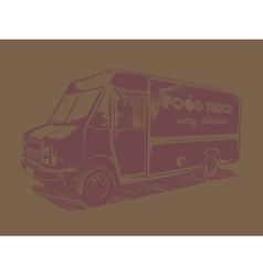 Painted pink food truck on a brown background vector