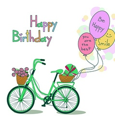 Card for birthday with bicycle and balloons vector