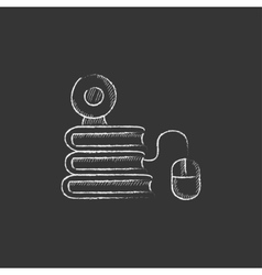 Online education Drawn in chalk icon vector image