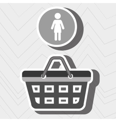 Red basket with person isolated icon design vector