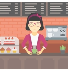 Woman making coffee vector image