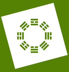 Bagua sign white icon obtained as a vector