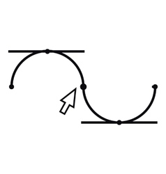 Bezier curve icon outline style vector