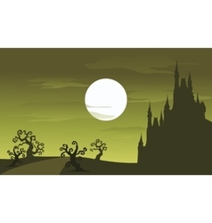 Big castle scenery Halloween and full moon vector image