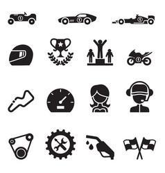 Car racing icon set vector