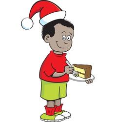 Cartoon santa hat boy vector