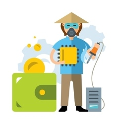 Cheap Asian labor The savings in the vector image