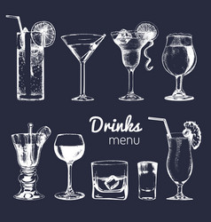 cocktails drinks and glasses for bar restaurant vector image