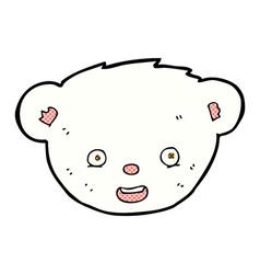 Comic cartoon polar bear face vector