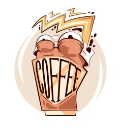 Crazy Coffee sticker vector image