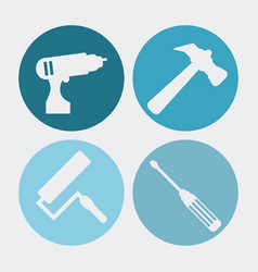 Drill paint brush hammer screwdriver icon vector