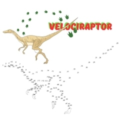 Educational game connect dots to draw dinosaur vector
