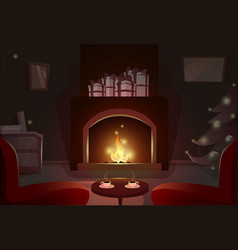 Fireplace with empty chairs merry christmas and vector