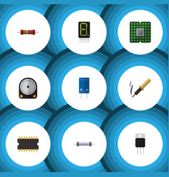 Flat icon electronics set of repair receiver vector