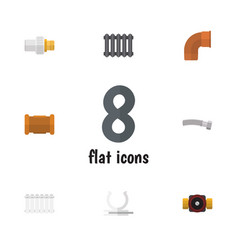 Flat icon pipeline set of radiator industry tap vector
